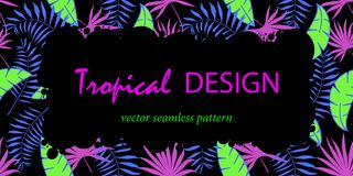 Modisches tropisches Blatt-Vektor-Design Abstrakte Formen Felddesign für Text vektor abbildung