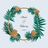 Modisches tropisches Blatt-Vektor-Design Palmblätter mit goldenen Blumen Lizenzfreies Stockfoto