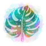 Modisches tropisches exotisches Mehrfarbenblatt auf einem abstrakten Hintergrund Botanische Illustration des Vektors, Elemente fü Lizenzfreies Stockfoto
