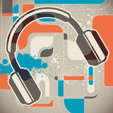 Modish background with headphones. Royalty Free Stock Photo
