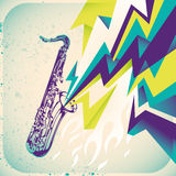 Modish banner with saxophone. Stock Photo