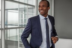 Modish confident cheerful entrepreneur is smiling. Stylish look. Waist up portrait of happy delighted young african businessman in formal clothes is standing royalty free stock photos