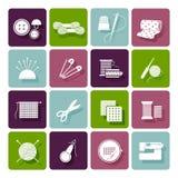 Modistería, el hacer punto e iconos del bordado Imagen de archivo libre de regalías