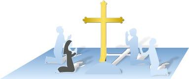 Modlący się ludzi i krzyż cutted i składających od gęstego papieru Fotografia Royalty Free