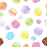 Modèle assorti sans couture de macarons Photos stock