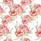 Modèle avec les fleurs rouges Photo libre de droits