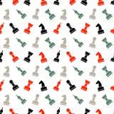 Modèle chaotique de vecteur sans couture avec les pièces d'échecs noires, grises et rouges Photos stock