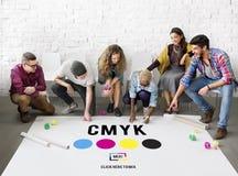 Modèle de couleur d'encre de tirage en couleurs de CMYK Concept Image libre de droits