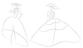 Modèle de femme de croquis de mode dans la rétro robe de mariage Photographie stock libre de droits