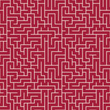 Modèle de labyrinthe de la géométrie d'abrégé sur graphique de vecteur fond géométrique sans couture rouge de labyrinthe Photos stock