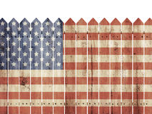 Modèle en bois de drapeau de With Etats-Unis de barrière Photographie stock
