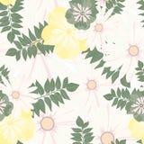 Modèle floral de beau vintage Configuration sans joint Fleurs Bourgeons lumineux, feuilles, fleurs Fleurs pour des cartes de voeu Photos stock