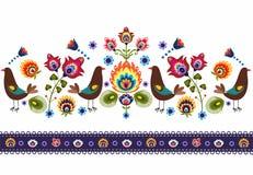 Modèle folklorique avec des oiseaux Photo stock
