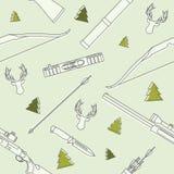 Modèle linéaire sans couture moderne avec des têtes de cerfs communs, chassant l'équipement et les armes sur le fond Illustration Photographie stock