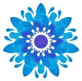 Modèle pour aquarelle - fleur abstraite bleue Image libre de droits
