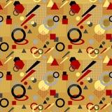 Modèle sans couture abstrait dans le beige rouge noir blanc post-moderne de Memphis Style Photos stock