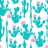 Modèle sans couture avec le cactus Photo libre de droits