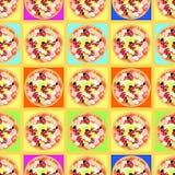 Modèle sans couture avec les pizzas colorées sur des tables Photo stock