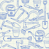 Modèle sans couture d'outils de jardinage Photo libre de droits