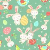 Modèle sans couture de bande dessinée de Pâques Photos stock