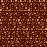 Modèle sans couture de brun foncé avec des grains de café Photographie stock libre de droits