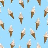 Modèle sans couture de cônes de gaufre de crème glacée  Illustration stylisée de vecteur Photos libres de droits
