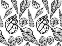 Modèle sans couture de coquilles texturisées de griffonnage Photos libres de droits