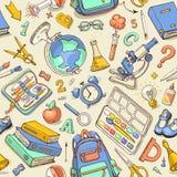 Modèle sans couture de couleur de vecteur des fournitures scolaires peu précises Image stock