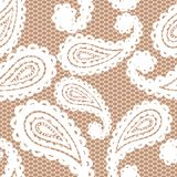 Modèle sans couture de dentelle avec Paisley Image libre de droits