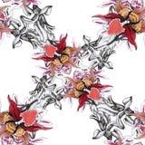 Modèle sans couture de floraison de fleurs de beau d'aquarelle jardin d'été Photo libre de droits
