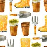 Modèle sans couture de jardinage d'aquarelle Photographie stock