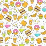 Modèle sans couture de nourriture de vecteur Illustration plate de petit déjeuner de thé Photographie stock