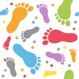 Modèle sans couture de pas de bébé Photographie stock