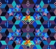 Modèle sans couture de patchwork avec les étoiles lumineuses Nuit étoilée mystérieuse Photo stock