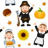 Modèle sans couture de pèlerin de thanksgiving Photos libres de droits