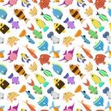Modèle sans couture de poissons d'illustration mignonne de vecteur Image libre de droits