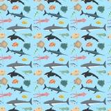Modèle sans couture de poissons d'illustration mignonne de vecteur Photo libre de droits