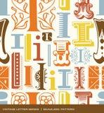 Modèle sans couture de vintage de la lettre i dans de rétros couleurs Photo libre de droits