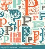 Modèle sans couture de vintage de la lettre P dans de rétros couleurs Images libres de droits