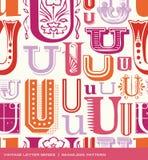 Modèle sans couture de vintage de la lettre U dans de rétros couleurs Image stock