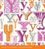 Modèle sans couture de vintage de la lettre Y dans de rétros couleurs Photos stock
