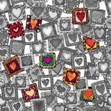 Modèle sans couture des coeurs originaux de griffonnage. Photographie stock libre de droits
