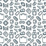 Modèle sans couture des icônes Fond de thème de voyage et de loisirs Image stock
