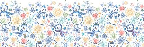 Modèle sans couture horizontal de bonhommes de neige mignons Photos stock