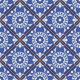 Modèle sans couture magnifique des tuiles marocaines et portugaises bleu-foncé et blanches, Azulejo, ornements Photographie stock libre de droits