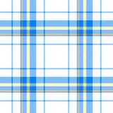Modèle sans couture matériel de contrôle de diamant de tartan de scot de tissu jaune-orange bleu de plaid Photographie stock