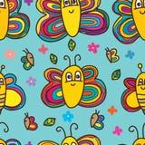 Modèle sans couture mignon d'abeille de papillon Photographie stock