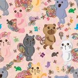 Modèle sans couture mignon de couleur en pastel d'animaux Photographie stock libre de droits