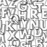 Modèle sans couture noir avec des lettres d'alphabet Images stock
