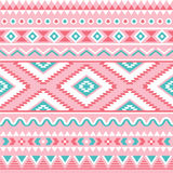 Modèle sans couture tribal, fond rose et vert aztèque Image libre de droits
